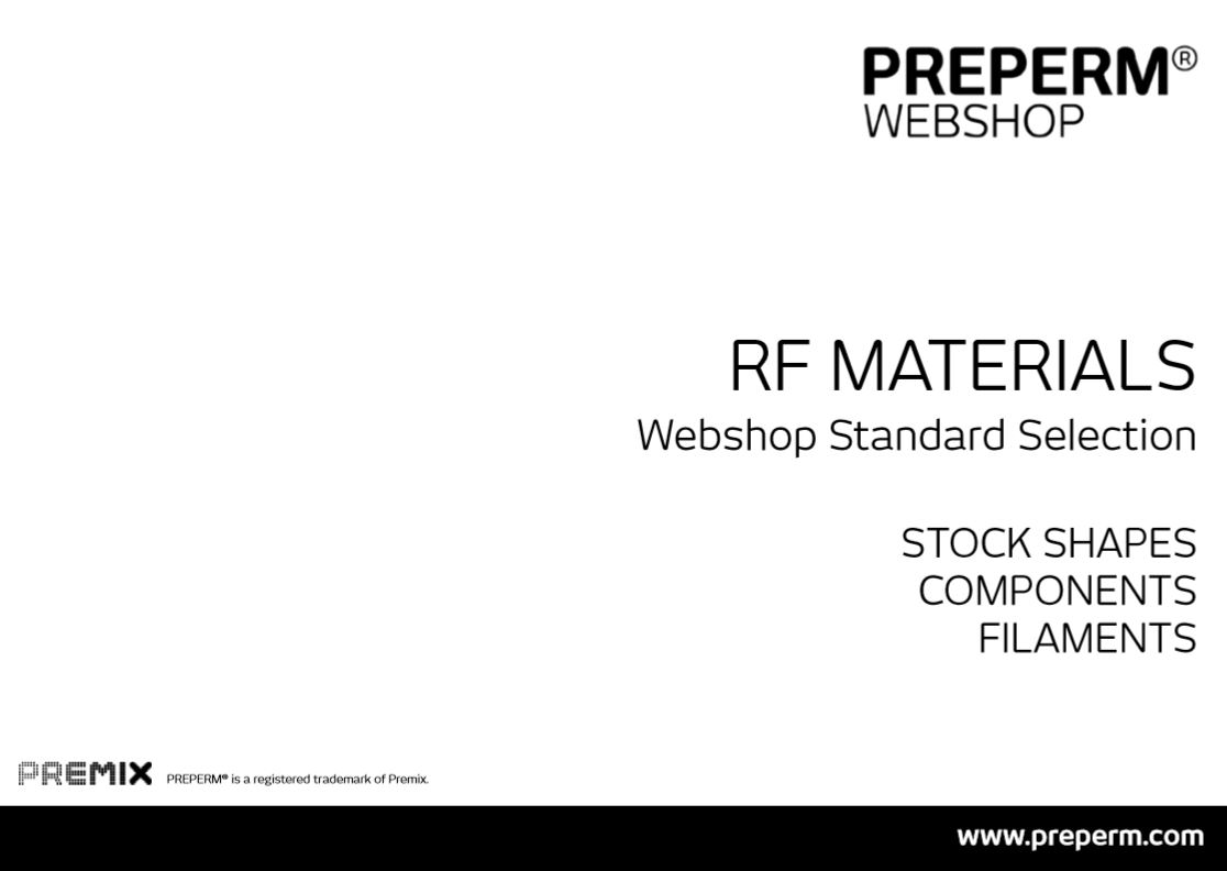 PREPERM Stock Shapes and components available on webshop WEB